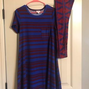 3/$25 Lularoe Carly  XS dress and OS leggings